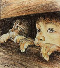 Kind und katze, Sephia, Blick, Malerei