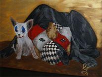 Clown, Acrylmalerei, Hund, Malerei