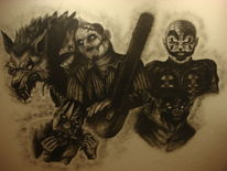 Airbrush, Horror, Clown, Mischtechnik