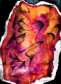 Aquarellmalerei, Abstrakt, Profil, Gesicht