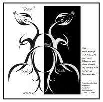 Tribal, Druck, Blumen, Zitat