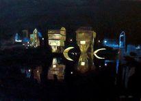 Nacht, Licht, Schwarz, Brücke