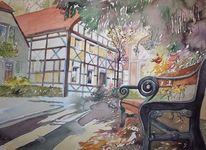 Herten, Dorf, Aquarellmalerei, Aquarell