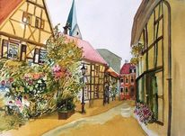 Dorf, Herten, Aquarellmalerei, Aquarell