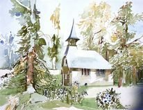 Aquarellmalerei, Architektur, Aquarell, Kapelle