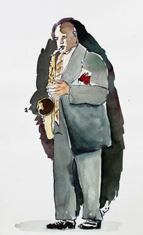 Jazz, Saxofon, Musiker, Aquarell