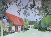 Samelow, Mecklenburg, Haus, Aquarell