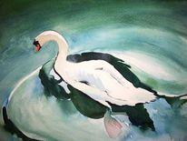 Aquarellmalerei, Schwan, Aquarell