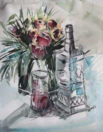 Stillleben, Blumen, Vase, Karaffe