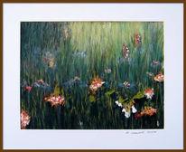 Gras, Wiese, Blumen, Malerei