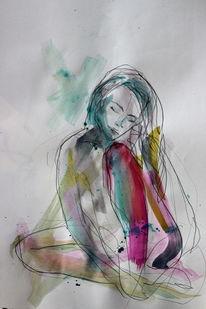 Intuition, Zeichnung, Bunt, Nachdenklich