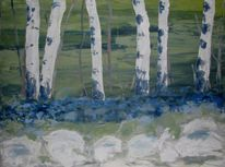Impressionismus, Birken, Frühling, Landschaftsmalerei