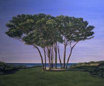 Landschaft, Piniengruppe, Toskana, Realismus