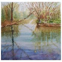 Baum, Spiegelung, Fluss, Aquarell