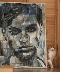 Portrait, Androgyn, Dispersionsfarben, Malerei