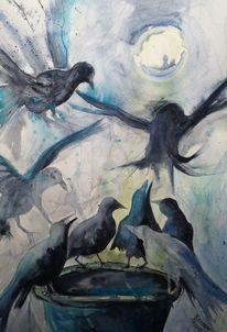 Rabe, Mond, Blau, Aquarell