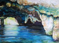 Felsen, Grotte, Aquarell
