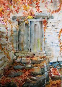 Herbstlaub, Tür, Ruine, Aquarell