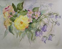 Rose, Gelb, Glockenblumen, Aquarell