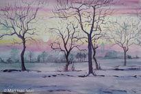 Winter, Sonnenaufgang, Baum, Aquarell