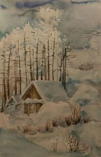 Blau, Aquarell, Winterlandschaft,
