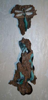 Holz, Libelle, Rinde, Abstrakt