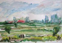 Küste, Landschaft, Friesland, Aquarellmalerei