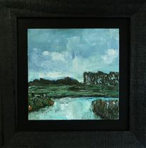 Landschaftsmalerei, Friesland acrylmalerei, Wangerland, Grabenmündung