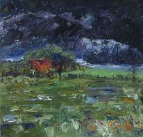 Wangerland, Minsen, Bauernhof, Regen