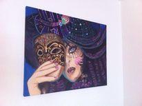Acrylmalerei, Frau, Gesicht, Menschen