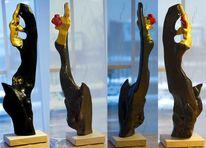 Abstrakt, Eschenholz, Skulptur, Plastik