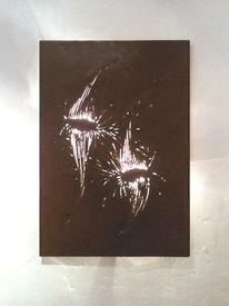 Lampe, Licht, Metallskulptur, Rost