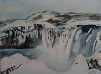 Wasserfall winter, Aquarell, Winter, Wasserfall