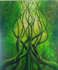 Acrylmalerei, Schicht, Grün, Malerei
