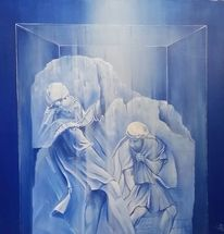 Acrylmalerei, Kobalt, Figur, Malerei