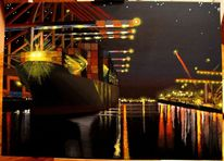 Schiff, Fluss, Nacht, Hafen