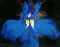Garten, Blau, Blumen, Malerei