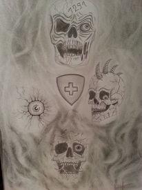 Verraucht, Schweiz, Bleistiftzeichnung, Schädel