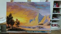 Landschaftsmalerei, Lanschaftsbild, Sonnenuntergang, Ölmalerei
