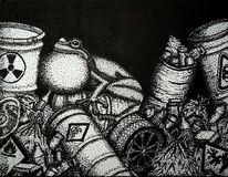 Müll, Klimaschutz, Laubfrosch, Zeichnung
