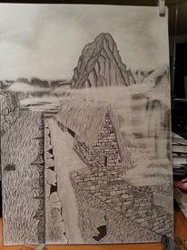 Landschaft, Bleistiftzeichnung, Zeichnungen, Nebel