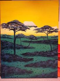 Afrika, Akazie, Kilimanjaro, Malerei