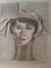 Bleistiftzeichnung, Portrait, Zeichnungen, Frau