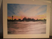 Aquarell, Frankfurt, Main, Winter