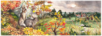 Kaninchen, Eifel, Landschaft, Aquarell