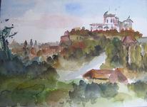 Basilika, Aquarellmalerei, Esztergom, Aquarell