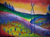 Malerei, Leiter, Acrylmalerei, Landschaft