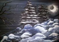 Acrylmalerei, Landschaft, Winter, Nacht