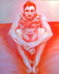 Akt, Rot, Mann, Malerei