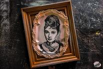 Bleistiftzeichnung, Audrey hepburn, Woodrat customart, Portrait